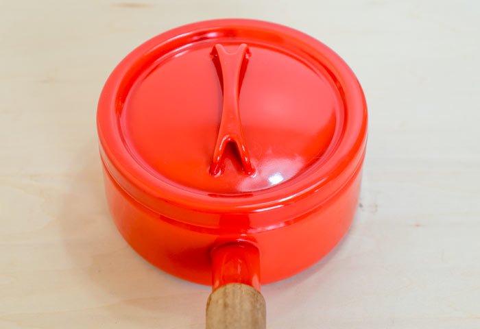 FINEL(フィネル)/ チークの取っ手のホーローの片手鍋(レッド) / フィンランド / ビンテージ / K0085  画像03