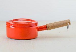 FINEL(フィネル)/ チークの取っ手のホーローの片手鍋(レッド) / フィンランド / ビンテージ / K0085