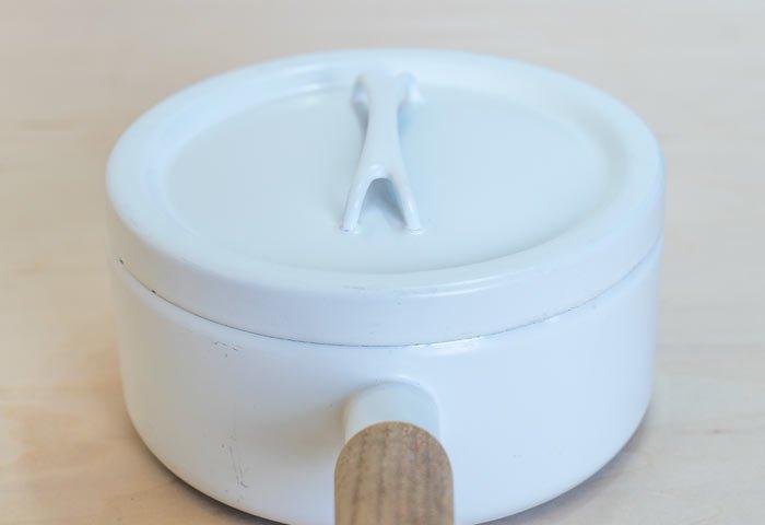 FINEL(フィネル)/ チークの取っ手のホーローの片手鍋(ホワイト) / フィンランド / ビンテージ / K0088  画像03