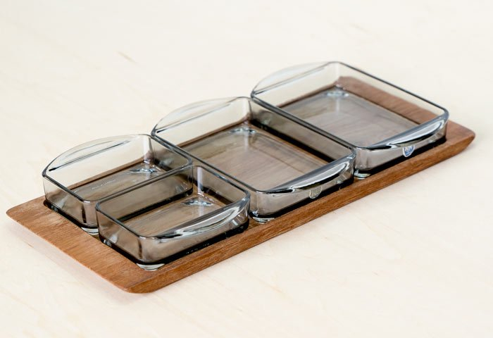 KH / ガラスのプレートとチークトレーのセット / デンマーク / ビンテージ / T0405  画像02