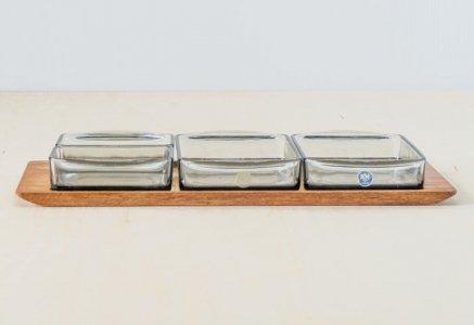 KH / ガラスのプレートとチークトレーのセット / デンマーク / ビンテージ / T0405