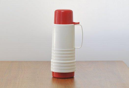 プラスチック魔法瓶(白+赤)/スウェーデン/ビンテージ 画像
