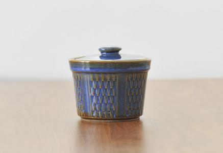 Soholm(スーホルム)/陶器の青いシュガーポット/デンマーク/ビンテージ