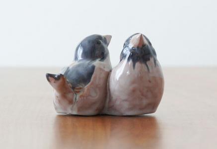 DISSING KERAMIK/陶器のつがいの鳥の置物(オブジェ)/デンマーク