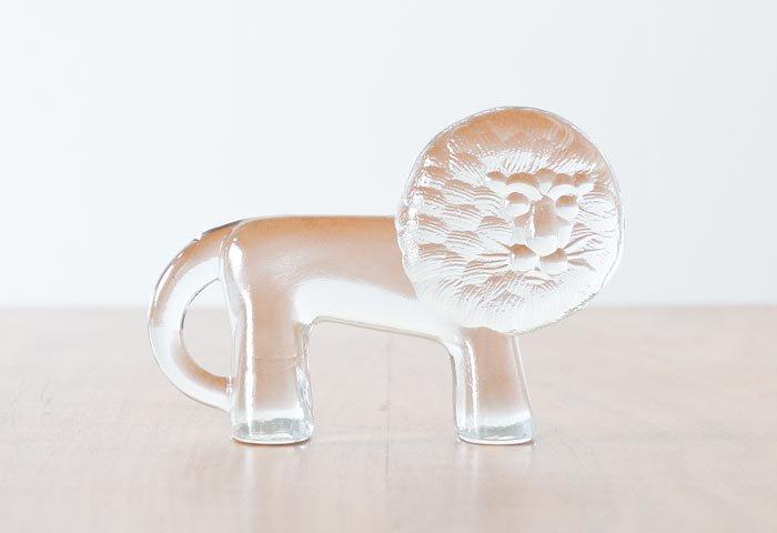 Kosta Boda(コスタボダ)/ZOOシリーズ/クリスタルガラスのライオンの置物/ビンテージ/スウェーデン 画像