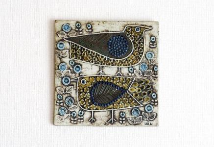 リサ ラーソン(Lisa Larson)/グスタフスベリ/Fåglar(鳥たち)壁飾り〜ビンテージ/スウェーデン