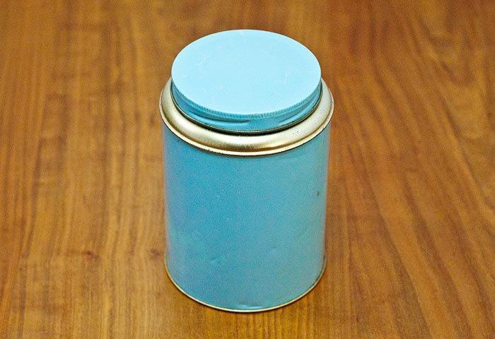 北欧で使われていた、ブリキ缶(水色)  画像02