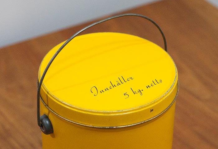 北欧で使われていた、ブリキ缶(黄色)  画像02