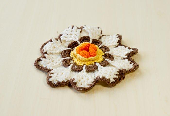 北欧で使われていた、花形のポットホルダー(鍋つかみ)/ビンテージ 画像