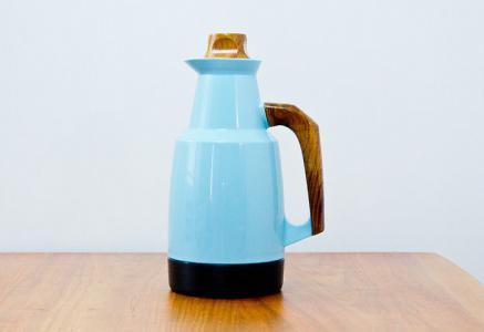 Husqvarna Borstfabrik/プラスチック製水色の魔法瓶/スウェーデン/ビンテージ