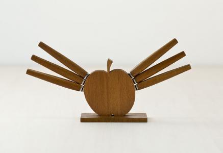 北欧で使われていた、チーク材のりんご型のフルーツナイフのセット/ビンテージ