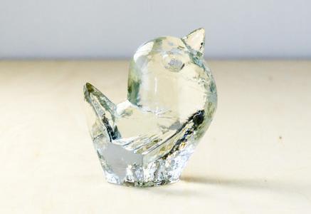 Pukeberg(プーケベリ)/ガラスの鳥の置物/スウェーデン/ビンテージ/I0081