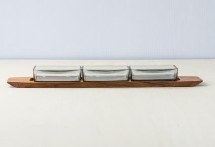 KH/ガラスのプレートとチークトレー/デンマーク/ビンテージ/T0320