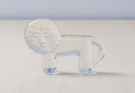 Kosta Boda(コスタボダ)/ZOOシリーズ/クリスタルガラスのライオンの置物S/ビンテージ/スウェーデン/I0092