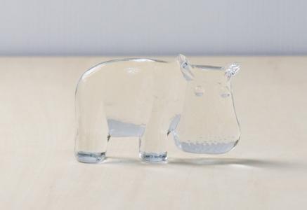Kosta Boda(コスタボダ)/ZOOシリーズ/クリスタルガラスのかばの置物/ビンテージ/スウェーデン/I0093