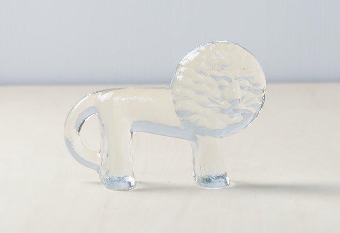 Kosta Boda(コスタボダ)/ZOOシリーズ/クリスタルガラスのライオンの置物M/ビンテージ/スウェーデン/I0107 画像