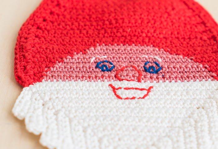 北欧で使われていた、サンタクロースの顔のポットホルダー(鍋つかみ)/ビンテージ/F0134  画像03