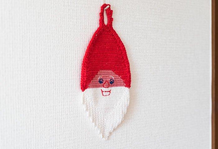 北欧で使われていた、サンタクロースの顔のポットホルダー(鍋つかみ)/ビンテージ/F0134  画像04