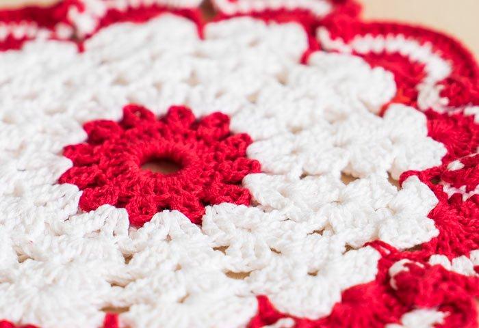 北欧で使われていた、赤い花のモチーフのポットホルダー(鍋つかみ)/ビンテージ/F0135-1  画像03