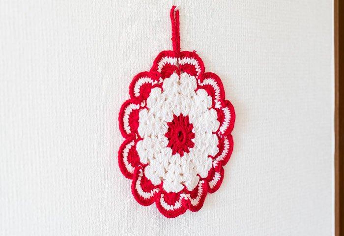 北欧で使われていた、赤い花のモチーフのポットホルダー(鍋つかみ)/ビンテージ/F0135-1  画像04