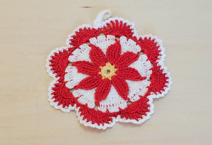 北欧で使われていた、赤い花のモチーフのポットホルダー(鍋つかみ)/ビンテージ/F0168 画像