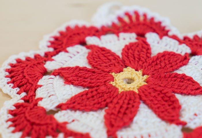 北欧で使われていた、赤い花のモチーフのポットホルダー(鍋つかみ)/ビンテージ/F0168  画像02