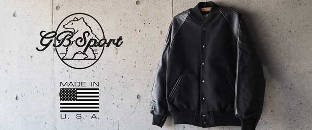 【GB SPORT】MELTON x LEATHER SLEEVE VARSITY JACKET CLASSIC FIT - BLACK/BLACK