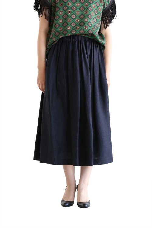 SACRA(サクラ) LINEN KARLMAYER リネンギャザースカート【SH216121】NAVY