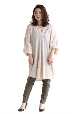 unfil(アンフィル) royal baby surialpaca V neck sweater【OSFL-UW106】beige