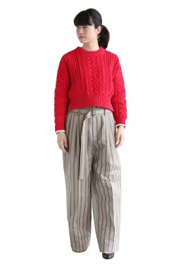 COOHEM(コーヘン) STRETCH CABLE KNIT プルオーバー【10-181-023】RED