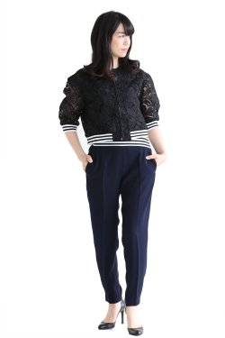 BORDERS at BALCONY(ボーダーズアットバルコニー) LACE BLOUSON【BD1811-3B-20】BLACK
