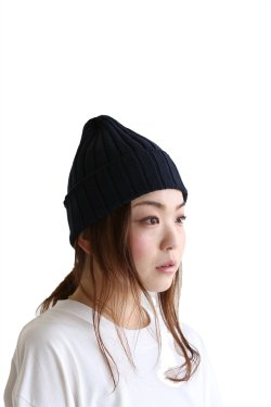 unfil(アンフィル) high twist cotton ribbed-knit beanie【OESP-UU001】