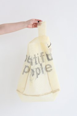 beautiful people(ビューティフルピープル) stopper sheet logo print bag yellow