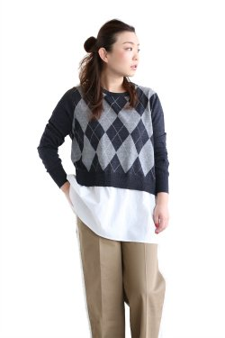 ADAWAS(アダワス) BASIC SHIRT KNIT ARGYLE【ADWS-801-04】MIST