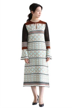 【在庫あり】Eyelet Jacquard Long Knit Dress