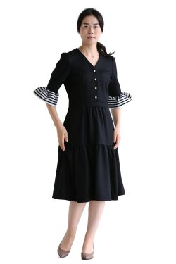 BORDERS at BALCONY(ボーダーズアットバルコニー) WOOL JERSEY DRESS  BLACK