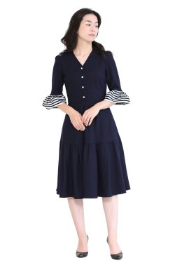 BORDERS at BALCONY(ボーダーズアットバルコニー) WOOL JERSEY DRESS  NAVY