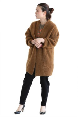 unfil(アンフィル) stretch superkid mohair cardigan  cognac