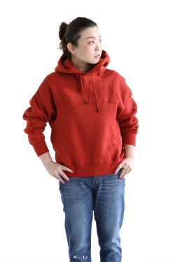 unfil(アンフィル) cotton-terry cropped hoodie  chinese red