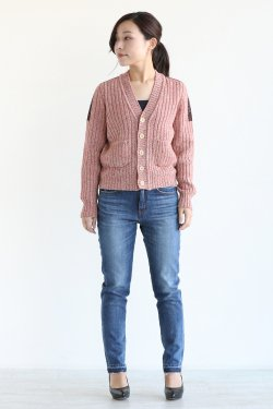unfil(アンフィル) melange melino ribbed cardigan  red mix