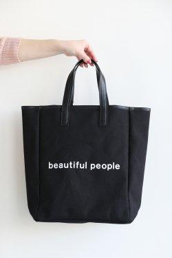 beautiful people(ビューティフルピープル) shape memory canvas tote  black
