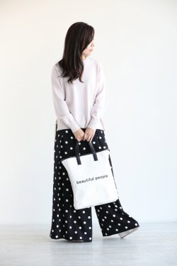 beautiful people(ビューティフルピープル) shape memory canvas tote  white