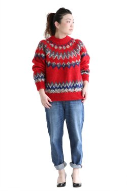 COOHEM(コーヘン) MOHAIR NORDIC KNIT P/O  RED