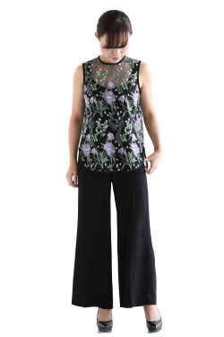 Botanical Lace Sleeveless Tops