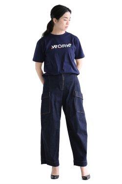 MUVEIL WORK(ミュベールワーク) WORKプリントTシャツ  navy