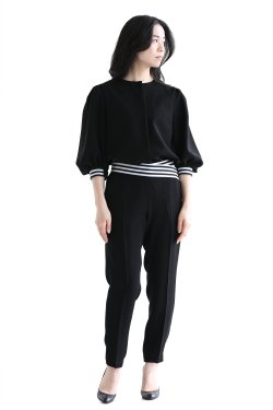 BORDERS at BALCONY(ボーダーズアットバルコニー) BALLON SLEEVES TOP  BLACK