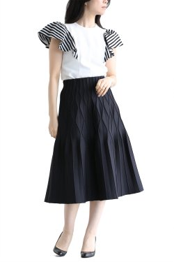 BORDERS at BALCONY(ボーダーズアットバルコニー) PLEATED SKIRT  BLACK