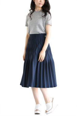 BORDERS at BALCONY(ボーダーズアットバルコニー) PLEATED SKIRT  NAVY
