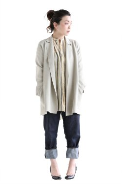 unfil(アンフィル) high twist cotton milanoribbed-knit jacket  sand