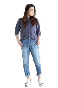 unfil(アンフィル)  high twist cotton cable-knit sweater  smoke blue